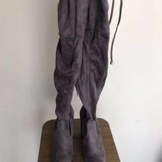 Thigh high tie up boots