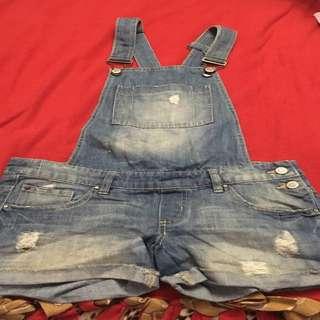 Blue denim short overalls size 3