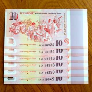 SG50 Commemorative Note Prefix AA *** CARING COMMUNITY   ***