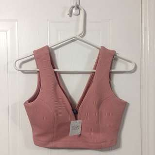 Pink Crop Top With Underwire