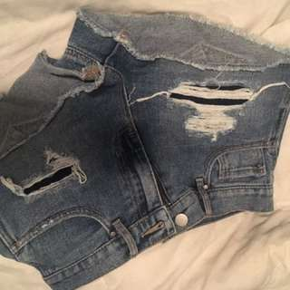 Women's Size 25 High-Wasted Blue Jean Shorts
