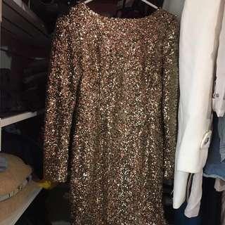 Long Sleeve Gold Sequence Dress
