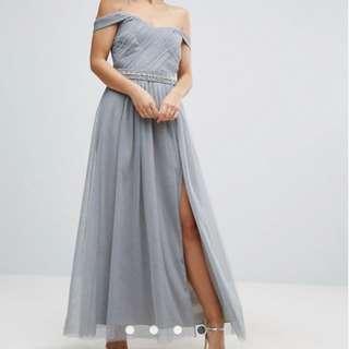 Little Mistress Grey UK Size 6/ US 2 Maxi Dress