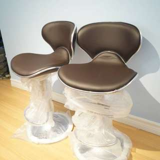 2 High Quality Brand Black Leather Adjustable Bar Stools with Back