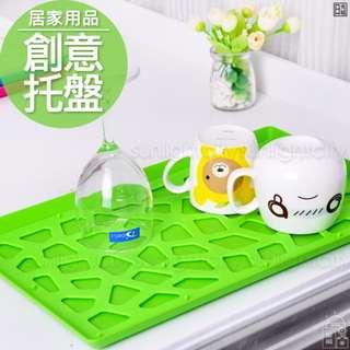 日光城。韓版創意時尚托盤,簍空置物盤雙層瀝水收納架水果盤茶壺盤茶水盤瀝水盤餐盤點心盤茶杯瀝乾盤