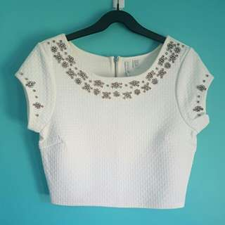 Forever New White Beaded Top