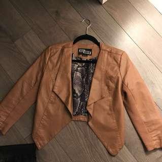 Cream faux leather jacket