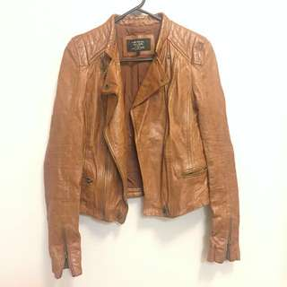 Zara Brown Real Leather Jacket XS