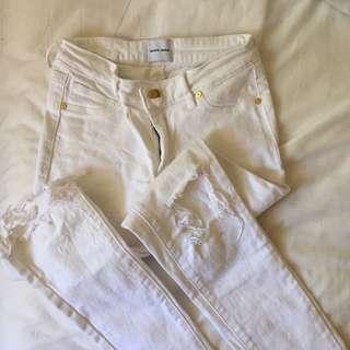 Abrand Ripped White Denim Jeans