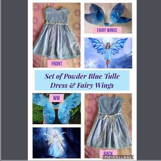 Set of Fairy Costume: Powder Blue Tulle Dress & Fairy Wings