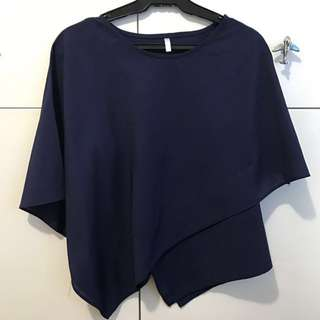 Navy Blue Assymetrical Top