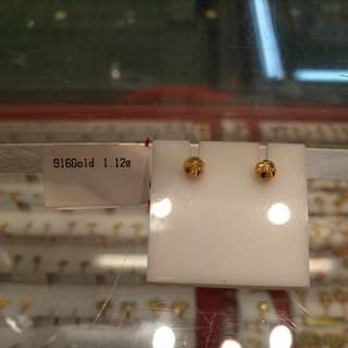 Authentic 916 gold ear studs