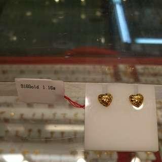 Authentic 916 gold heart shape ear stud