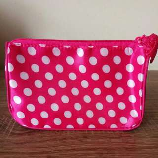 Mini Pouch Pink Polkadot Putih