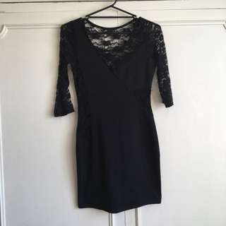 Dotti Lace Dress - Black: size S