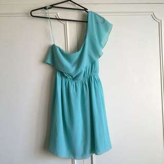 Dotti One Shoulder Dress: Teal Green Blue: size 10