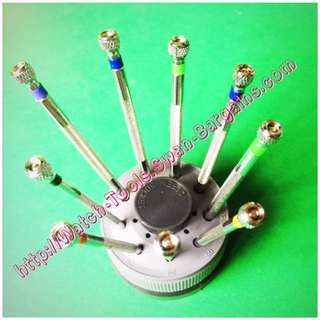 9pcs Watchmaker & Jewelry Miniature Screwdrivers Set In Rotating Base Holder with Spare Blades Set