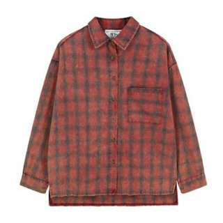 【降⬇含運】磨破做舊格子襯衫(紅)