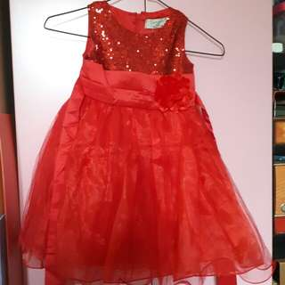 Beautiful red girl princess party dress with flower brooch organza sequined