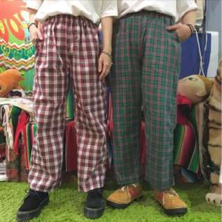紅白鬆緊格紋褲