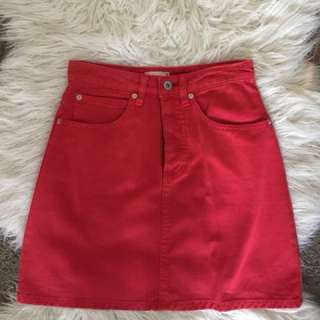 EDT red denim skirt
