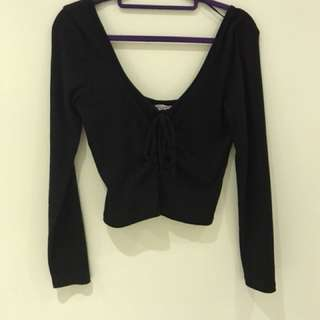 Long Sleeve Black Criss Criss Crop Top