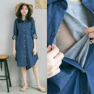 SIMPLE DENIM DRESS LONG SLEEVES MATERNITY + NURSING - DARK BLUE