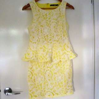 Knight Angel yellow Peplum dress - size 8