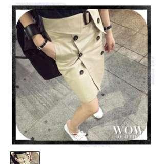 🎗出清優惠價$300 高腰類burberry風格卡其雙排扣短裙