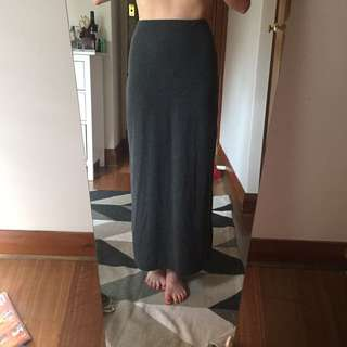 Cotton grey long skirt