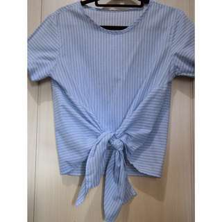 Light Blue/White/Light gray Stripes Blouse
