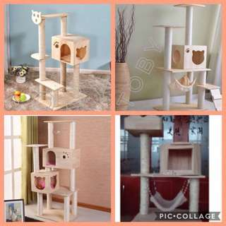 (NEW!) pine wood cat tree scratch house bed