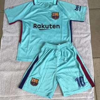 2018 Blue Barcelona Jersey Set Jersey And Shorts Kids Set Blue Youth #10 Messi