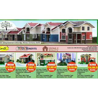 4 HOUSE AND LOT SINGLE DETACHED AND SINGLE ATTACHED FOR SALE, CARMONA, CAVITE