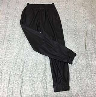 Black thin leather track suit pants