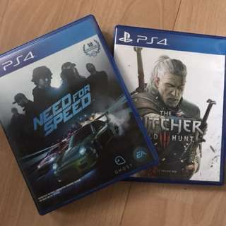 PS4. The Witcher 3 & Need for speed