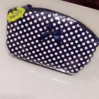 Naraya Polka Dot Comestic Bag • Navy Blue •