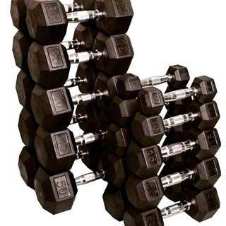 Rubber Hex Dumbbells (updated price)