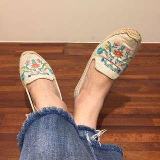 Soludos 花卉刺繡平底草鞋