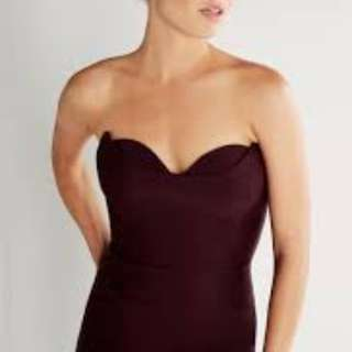 Sheike sz10 deep wine red strapless dress