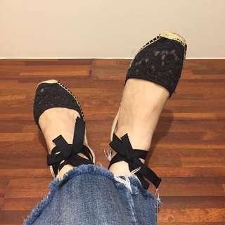 Soludos 法式黑色蕾絲綁帶涼鞋