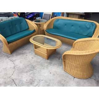【超值家具組】藤製3+2+1沙發組/全實木沙發椅/沙發床/休閒沙發/全牛皮沙發/皮沙發/布沙發 B1048
