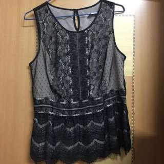 Ann Taylor loft lace black top