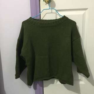 Green Cropped Sleeve Sweater