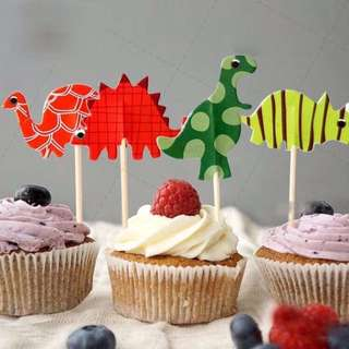 12pcs Jurassic Dinosaurs Cupcake Toppers Muffin Cake Topper Decoration Baking Picks Birthday Party Dinosaur