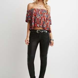 Forever 21 Floral Knit top // off shoulder // Ivory red