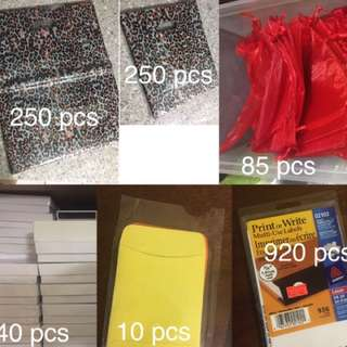 Packaging: shopping bags, gift pouches, jewelry boxes, jewelry envelopes, stickers