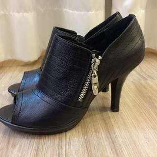 黑色裸靴 專櫃真皮高跟鞋