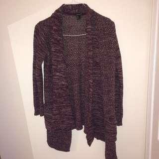 Soft-Knit Burgundy Cardigan