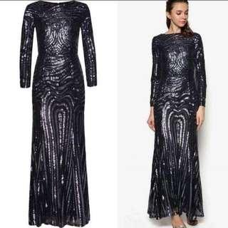 Zalia Metallic Sequin Dress